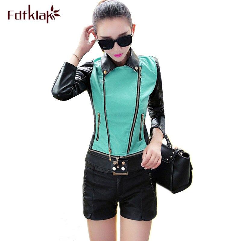 Fdfklak Chaqueta mujer new slim leather jacket women moto pu leather coat female fashion short women's jackets plus size 3XL