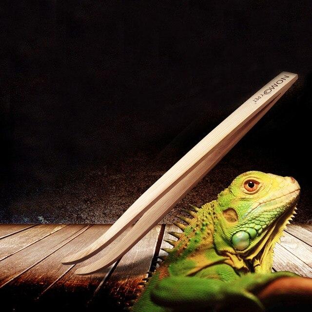 Angled Reptile Terrarium Feeding Tongs Tweezers Eco-Friendly Bamboo Feeding Tool