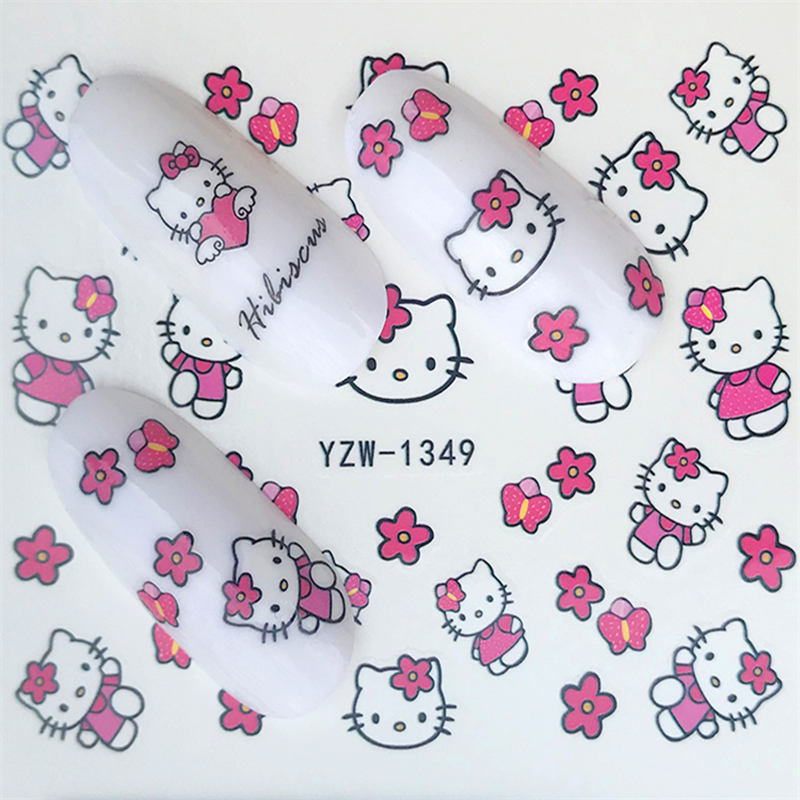Hello Kitty  Mickey Mouse Decals Stickers Wrap Nails Cartoon Cute Nail Sticker Tips Decoration Nail Art Water Transfer Sticker