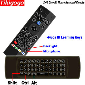 Image 2 - Tikigogo TK3 backlight Microphone 2.4G Air Mouse Mini Keyboard 44 IR Learning for Android Smart TV Box PK MX3 t3 Remote control