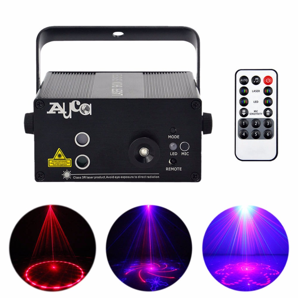 AUCD 40 Patterns Red Blue Laser Projector Lights Remote 3W Blue LED Music Effect DJ Party Club Show Home Stage Lighting AZ40RB aucd mini remote 24 patterns rg red green laser effect projector 3w blue led light dj home party wedding stage lighting z24rg