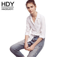 HDY 2017 Fashion BF White Blouses Women Turn Down Collar Single Breasted Basic Blouse Lady Casual