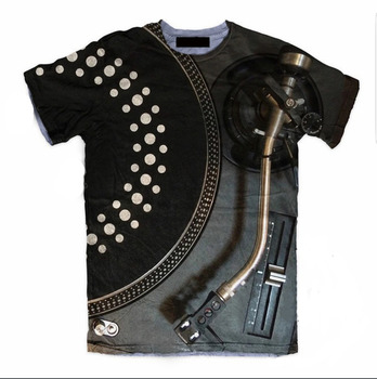 PLstar Cosmos summer Fashion 3d T-shirt Black Disk DJ 3D Printing T Shirts Hipster Men/Women Short Sleeve