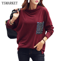 2017 Spring Autumn Europe US Hot Sequins Patchwork Pocket Loose Casual Women Cotton Blend Long Sleeve