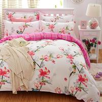 Birds Blooms Bedding Set 2017 Flower Bed Linens 4pcs Set 5 Size Duvet Cover Set Pastoral