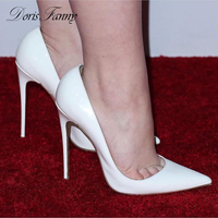 DorisFanny pointed toe shoes women designers white wedding shoes bride So sexy high heels nightclub ultra thin heels