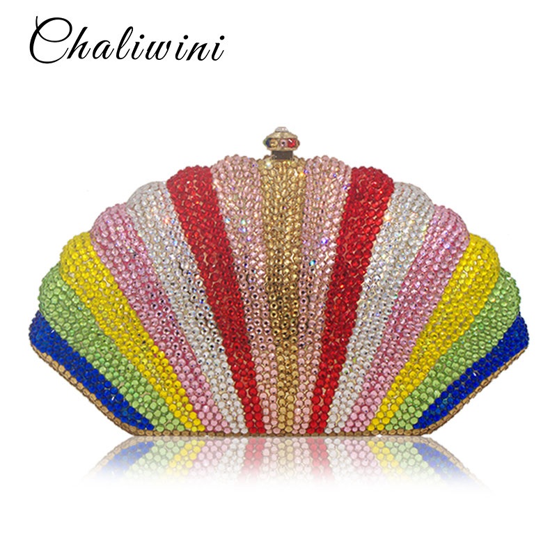 Élégant coquille arc-en-ciel cristal complet diamant Woemn sacs de soirée dames jour embrayages strass embrayage Banquet pochette
