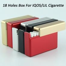 높은 품질 5 색 알루미늄 합금 전자 담배 케이스 18 구멍 슬라이딩 유형 레드 카트리지 저장 상자 iqos