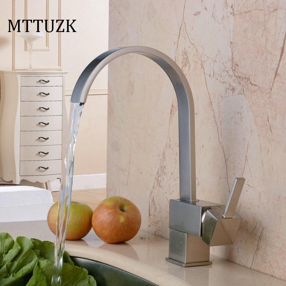 Comprar Mttuzk cubierta montada cobre níquel cepillado cocina grifo cascada baño cuenca tabla grifo caliente y fría grifo mezclador de faucet hot and cold fiable proveedores en Best