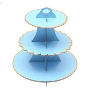 DIY 1 комплект синие 3 уровня принадлежности для рождения детей картонные бумажные подставки для кексов тарелки для торта для вечеринки украш...
