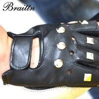 BRAITTN Free Shipping New Men S Leather Gloves Thin Rivet Paragraph Short Half Finger Gloves Outdoor