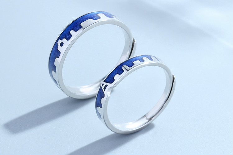 HTB1Ck ANCzqK1RjSZFHq6z3CpXaj Flyleaf Blue Dripping Glazed Castle Open Lovers Rings For Women Men Romantic Valentine's Day Gift 925 Sterling Silver Jewelry