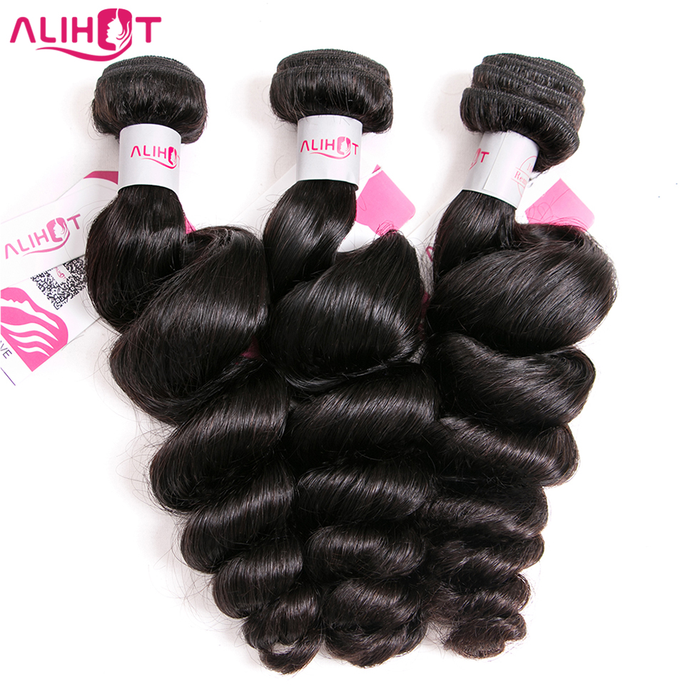 ALI HOT Hair Peruvian Loose Wave Hair Weave 3 Bundles Natural Black Color Remy Hair Extension 3PCS 100% Human Hair Bundles