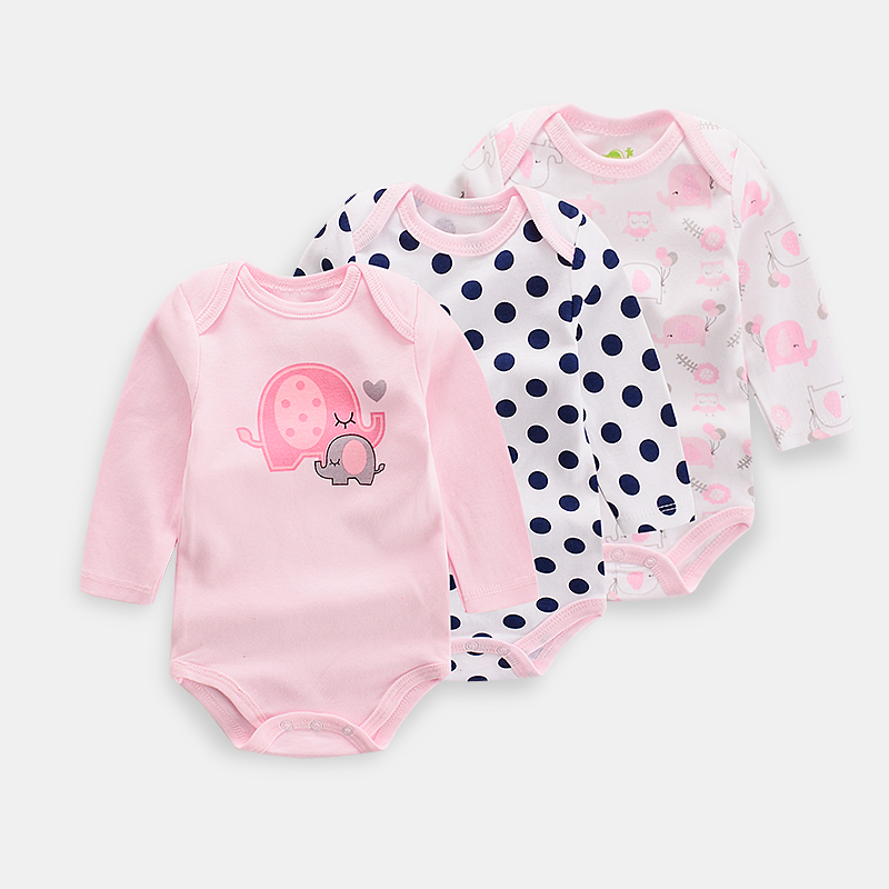2019 New Baby Bodysuits Pink Elephant Long Sleeve Boy's Sets Overall Cotton Infant  Girls Jumpsuit Newborn Clothes 3Pcs/lot(China)