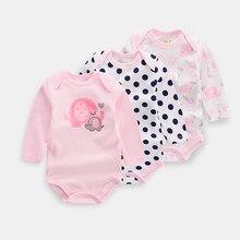 Новинка года; Детские боди с длинными рукавами и изображением розового слона; комплекты для мальчиков; комбинезон из хлопка для маленьких девочек; Одежда для новорожденных; 3 шт./лот