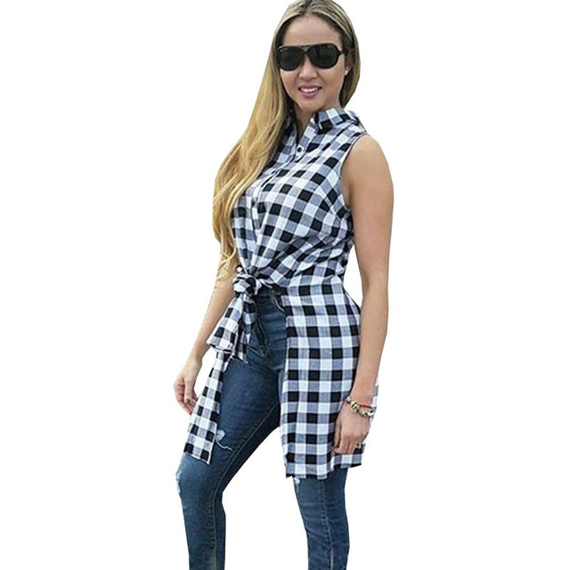 Black And White Plaid Shirt Women Nice Loose Long Blouse