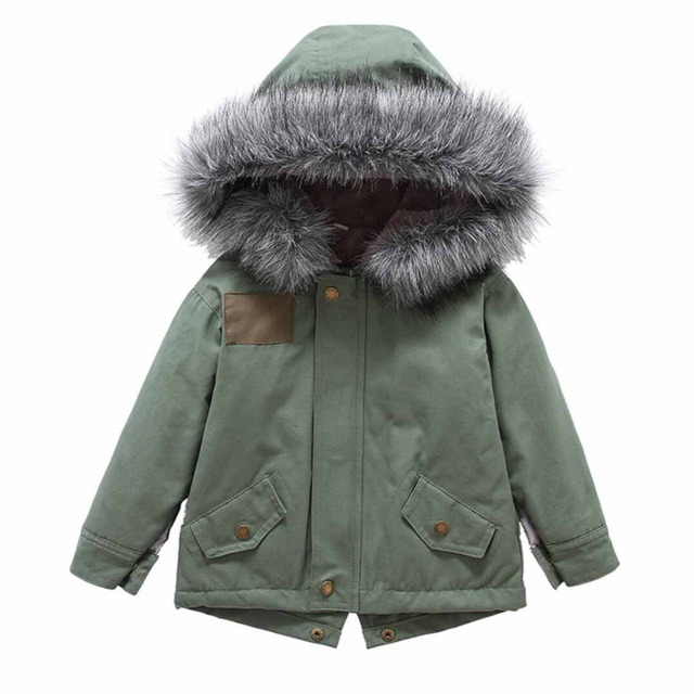 c2d1c8f7c Children Little Girls Fleece Lined Parkas Coat with Faux Fur Hooded ...