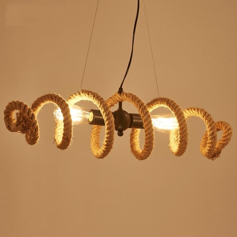 American Retro Hemp Rope Pendant Lights Nordic Industrial Loft Personality Conduit Hanglamp Bar Cafe Dinning Room Hanging Lamp