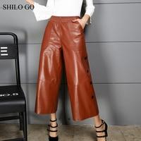 SHILO GO Leather Pants Womens Autumn Fashion sheepskin genuine leather Pants vintage stretch high waist side button Flare pants