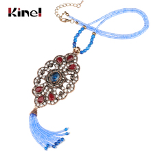 Kinel Wholesale Crystal Beads Tassel Necklace 3 Colors Vintage Jewelry 2018 New Arrivals Gifts For Women Chains Choker
