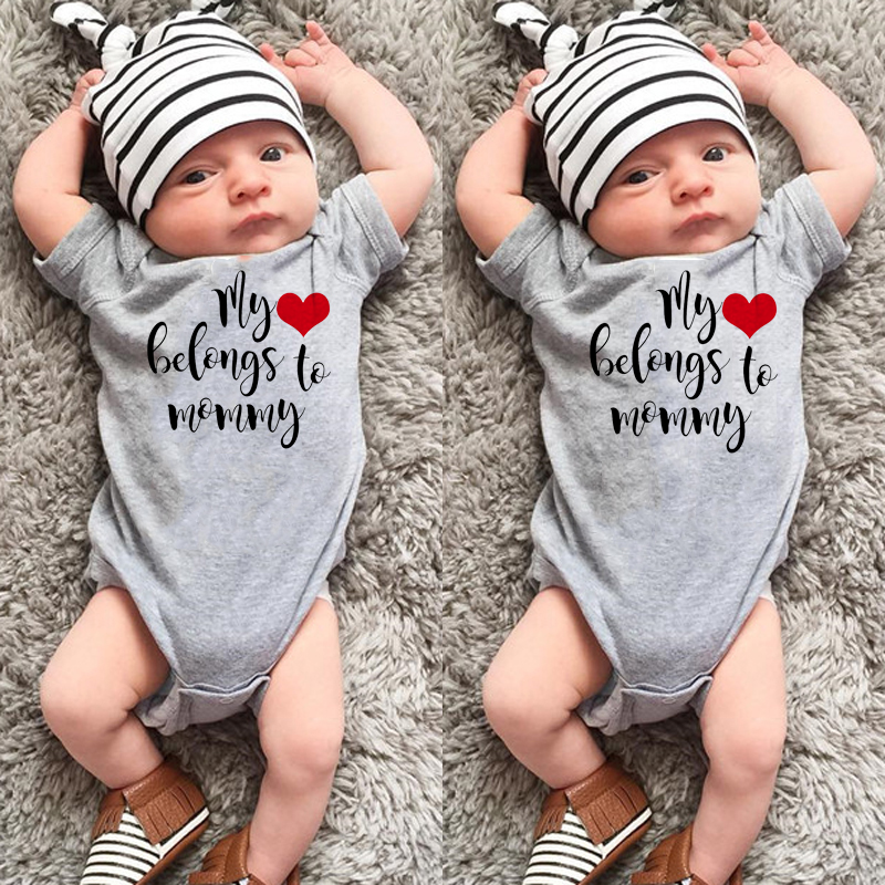 My heart belong to mommy Newborn Infant Baby Boy Girl Short Sleeve Letter Print   Romper   Jumpsuit Outfits Casual Clothes 0-24M