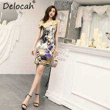 Delocah New Women Spring Summer Dress Runway Fashion Sexy V-Neck Spaghetti Strap Beading Leopard Printed Elegant Vintage Dresses