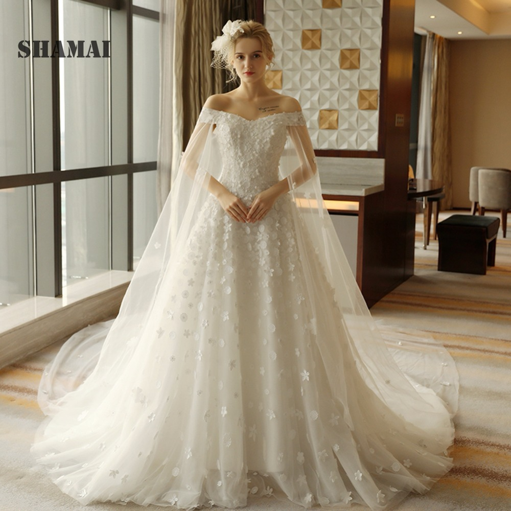 Aline Wedding Gown: Lace Appliques Flowers V Neck Wedding Dress Cathedral