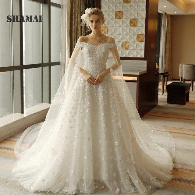 a62a590d1fd7 Lace Appliques Flowers V Neck Wedding Dress Cathedral train 2019 Wedding  Gown Off Shoulder Aline Bridal Gown Vestido De Noiva