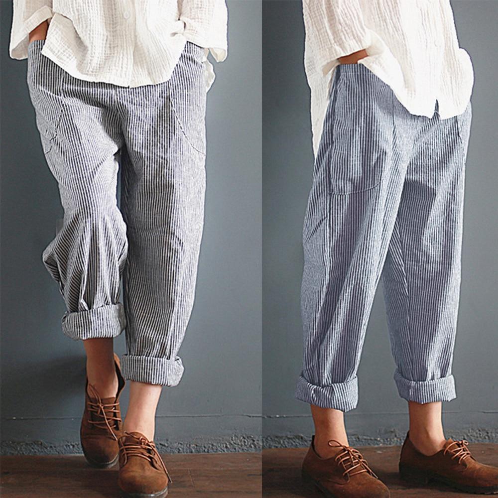 5XL Big Size Cotton Linen Harem Pants Women Striped Pockets High Waist Cropped Summer Pants Loose Femme Trousers Pantalon Large