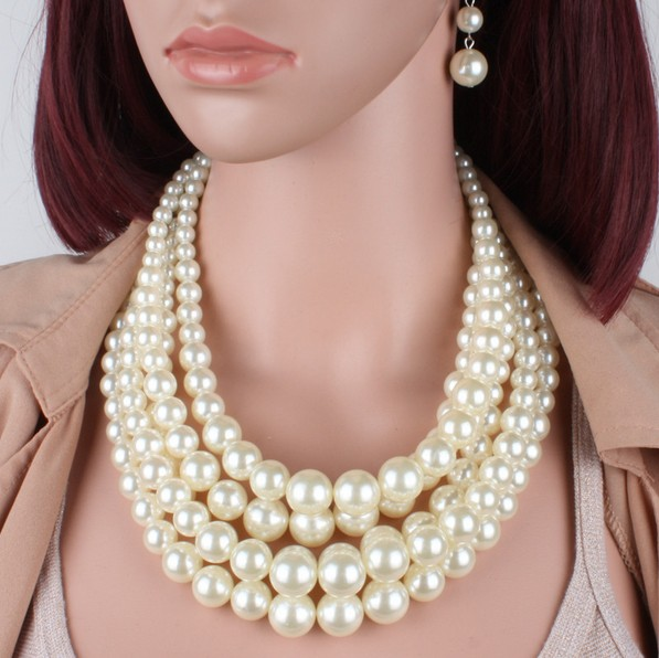 все цены на multilayer Simulated Pearl Beads fashion simulated plastic pearl bead women necklace trendy party Earrings jewelry