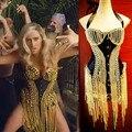 2016 НОВЫЙ сексуальный femal костюм кеша мв золотая цепочка кисточкой корсет топ женщины певица одежда Девчушки боди сценическое шоу платье