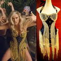 2016 NUEVA sexy femal traje de ke $ ha mv cadena de oro borla corsé top mujeres ropa cantante Femenina traje stage show vestido