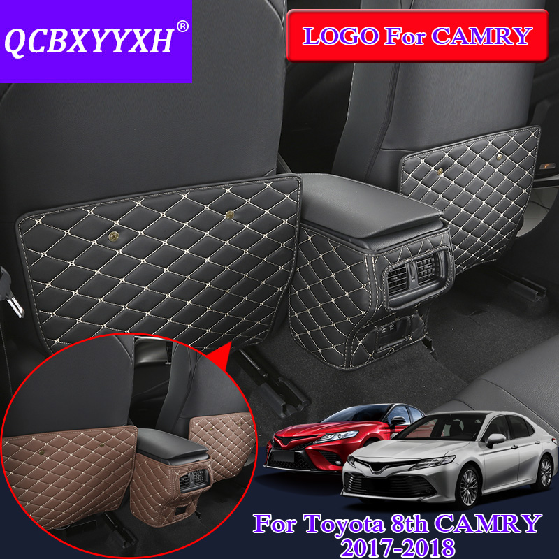 QCBXYYXH Car Styling PU Leather 3pcs/lot For Toyota Camry 2017 2018 Car Seat Back Anti-Kick Pad Cover Internal Decoration Covers