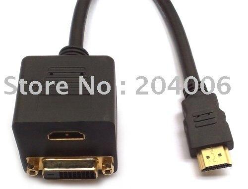 Free Shipping!! HDMI Male to 1x HDMI + DVI Female splitter Y cable ,HDMI Splitter cable 1 male to 2 female