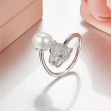 55ef1561a3a28 Designer de moda pérola panther anel anel de prata 925 jóias para as  mulheres, tamanho ajustável leopard anel animal de partido .