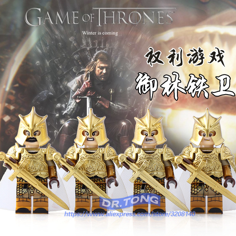 Singal Sale Game of Thrones MOC Ice and Fire Series Jaime Lannister Barristan Selmy Meryn GLOD Lacquer Building Bloks Toys full hunter game of thrones pocket watch lion house lannister necklace quartz bronze cool men womens gift