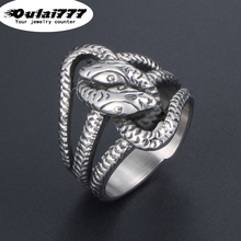 oulai777 2019 stainless steel wholesale Domineering ring snake jewelry mens men male punk big rings Retro devil fasion Cool