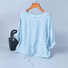 T Shirt Women Summer 2019 New 100% Silk Printed Round Neck Drop Shoulders Loose Lace-up Bow Fashion Woman Clothes S-XL
