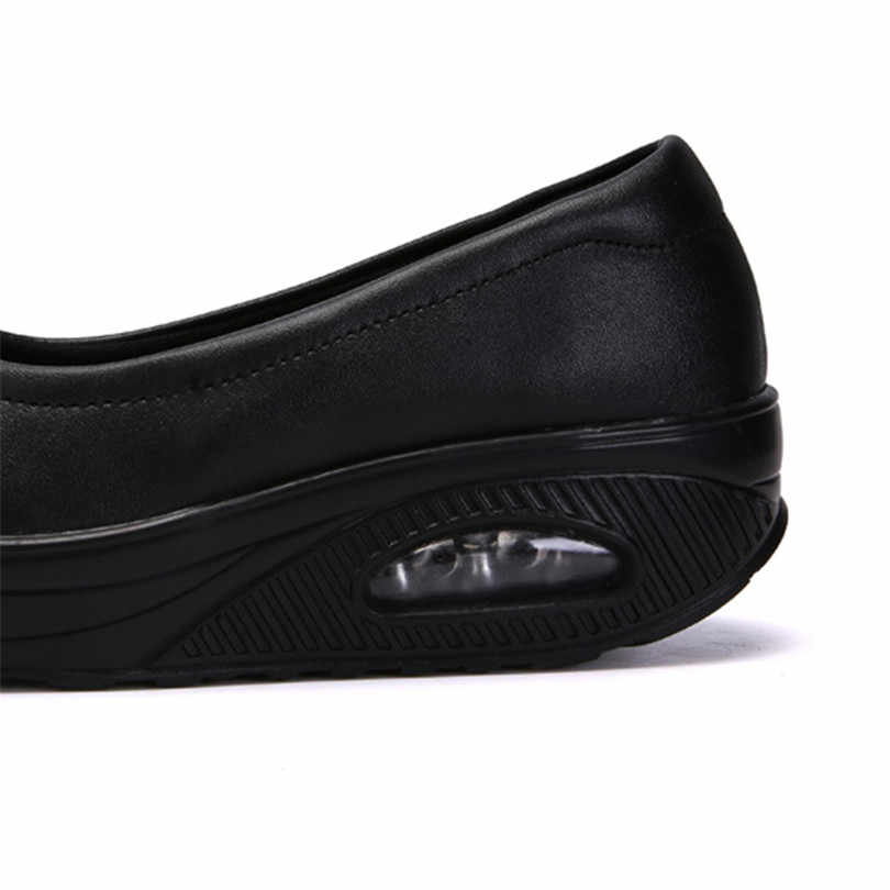 LIN KING Plus Size Vrouwen Casual Schoenen Hoogte Verhogen Swing Schoenen Wiggen Sneakers Slip Op Instappers Comfortbale Murse Werkschoenen
