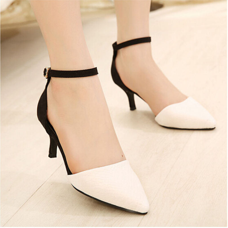 2016 Summer Style Fashion Pointed Toe Women Pumps Mid High Heels Sexy Ladies Dress Shoes Sandals