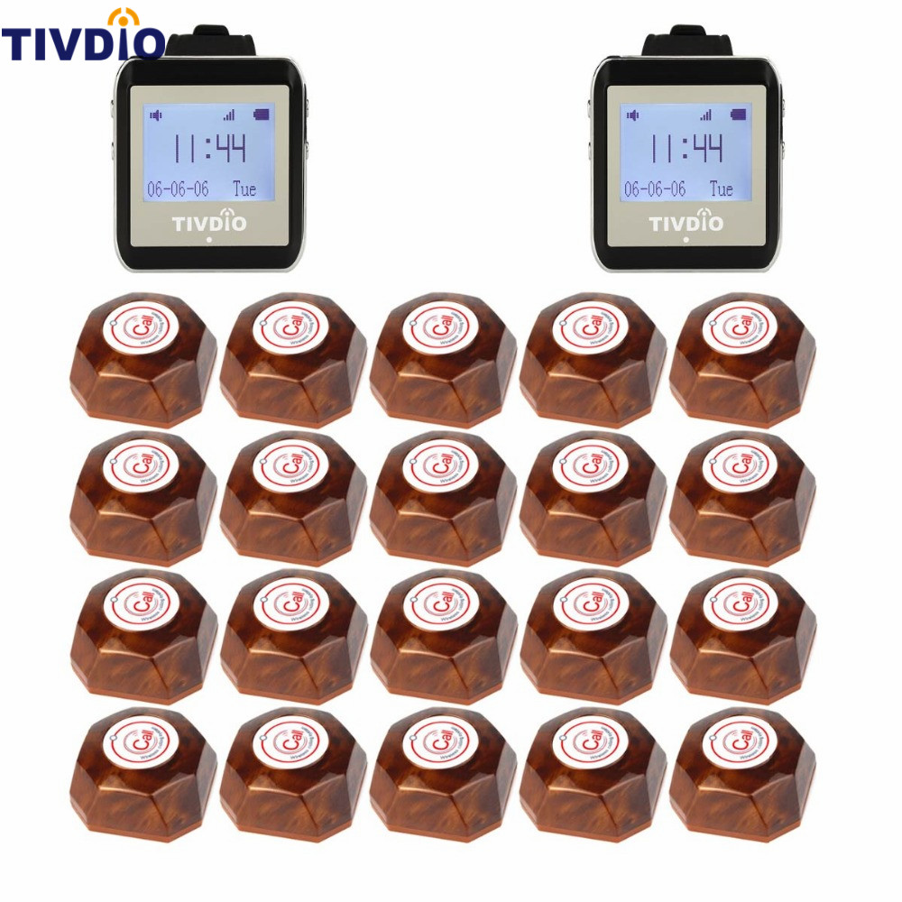 TIVDIO Wireless Restaurant Pager Coaster Paging System 2 Watch Receiver+20 Call Button Pager Guest Watches Waiter Caller F9404A