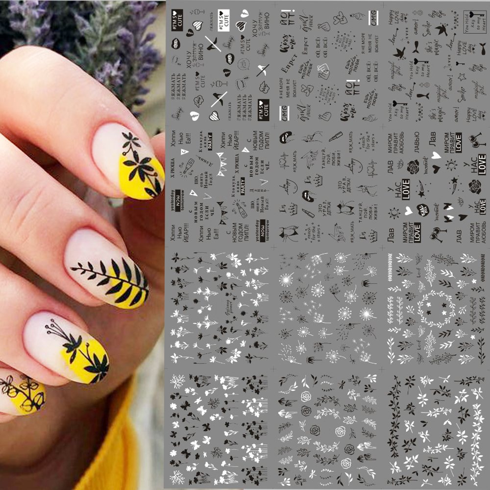 Water Transfer Nail Slider 12 Designs Butterfly Letter leaves  Decals Sexy Girl Full Wrap Nail Art Sticker Manicure Set Z0168