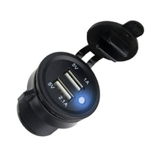 DC 12-24V 2 USB Car Cigarette Lighter Socket Protections Charge Universal Fast Auto Vehicle Charger Adapter For Phone