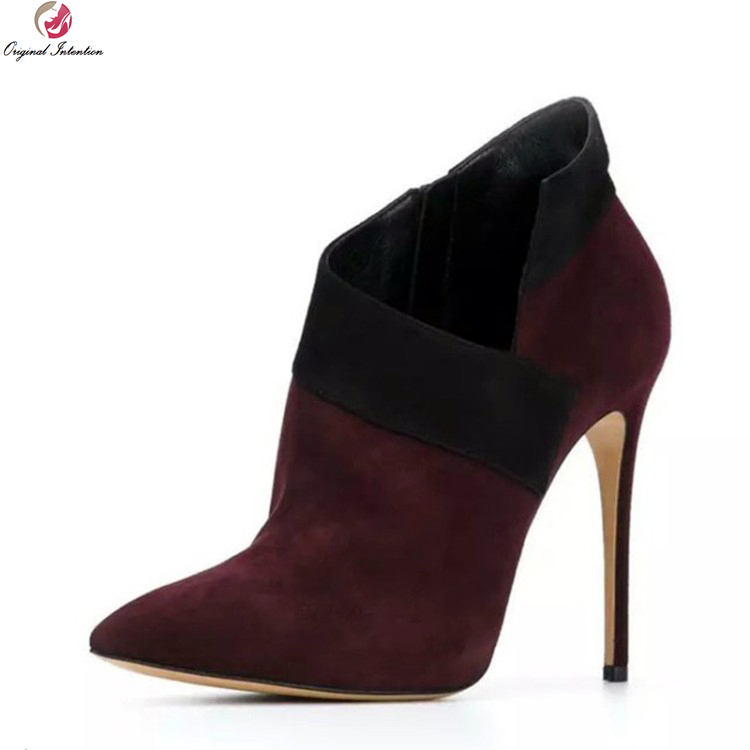 Original Intention Fashion Women Ankle Boots Pointed Toe Thin High Heels Boots Elegant Wine Red Shoes Woman Plus US Size 3-10.5 new arrival black red full grain leather zip fashion women boots pointed toe thin heels ankle shoes woman 1553