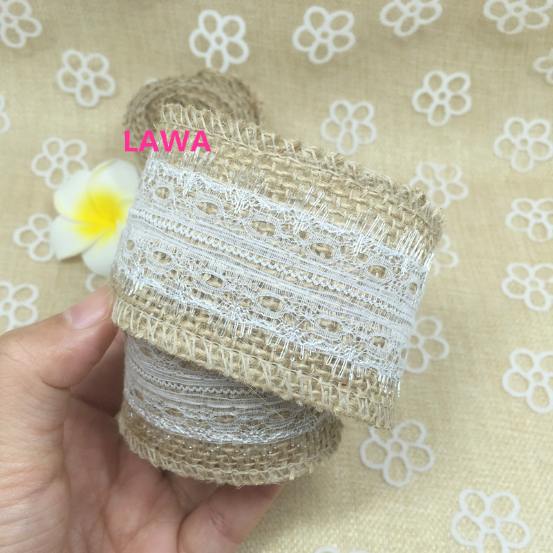 Free Shipping 2m Roll Jute Burlap Hessian Ribbon With Lace Rustic Wedding Centerpieces Vintage Party