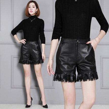 2019 High-waisted Tassel Shorts Wide-leg Lambskin Shorts KS39