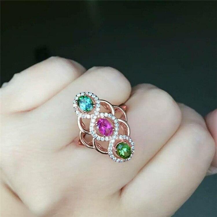 KJJEAXCMY bijoux en argent S925 ensemble de bague en diamant tourmaline naturelle de 3 diamants incrustés sur commande en gros.
