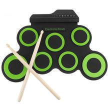 Portable Electronic Digital USB 7 Pads Roll up Drum Set Silicone Green Electric Drum Kit with Drumsticks and Sustain Pedal