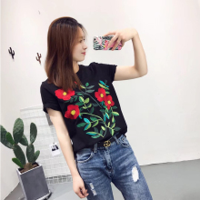 Black Elegant Women T-shirt Casual  Short Sleeve Embroidery Summer Tee Top Female