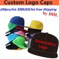 Atacado 100 PÇS/LOTE 500 USD Imprimir o Logotipo Bordado Feito Sob Encomenda Snapback Bonés De Beisebol De Golfe Chapéus de Caçamba para Adulto Crianças Das Mulheres Dos Homens